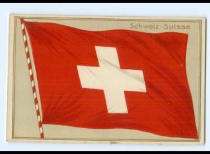 Y7156/ Fahne Flagge Schweiz Suisse Litho Präge AK ca.1910