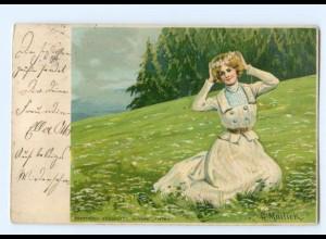 T9746/ Mailick Litho AK junge Frau mit Blumenkranz im Haar 1903