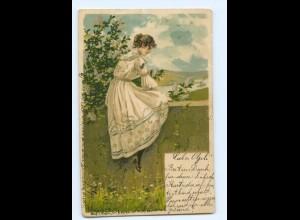 T9732/ Mailick Litho AK junge Frau 1903