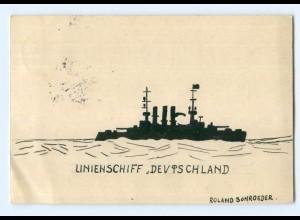 U452/ Handgemalte AK Linienschiff Deutschaldn 1914 Kriegsschiff
