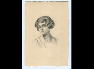 U461/ Handgemalte AK junge Frau ca.1910