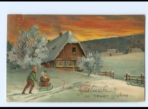 Y7450/ Neujahr Kinder mit Schlitten Litho Prägedruck AK 1912