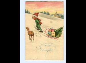 Y7447/ Neujahr Kind und Reh Litho AK 1934