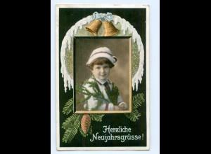 Y7444/ Neujahr Kind mit Tannzweig, Glocke AK 1917
