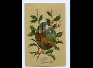 Y7443/ Weihnachten Ilexzweig Litho Prägedruck AK 1909