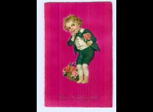 Y7441/ Namenstag Junge mit Rosen Litho AK 1927