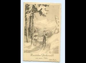Y7437/ Neujahr Skifahren junge fährt Ski AK 1932