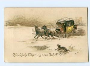 Y7435/ Geburtstag Neujahr Postkutsche Litho AK 1919