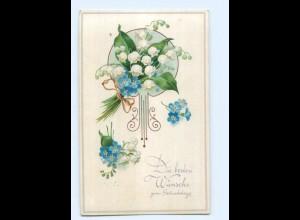 Y7589/ Geburtstag Blumen Litho AK ca.1910