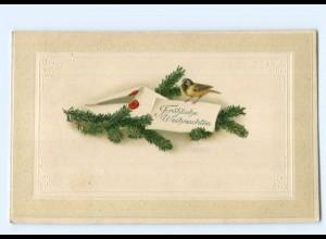 Y7588/ Weihnachten Tannezweig und Vogel Meise Litho Präge AK ca.1915