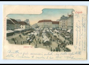 U729/ Zagreb Jelacivec trg AK Kroatien 1902