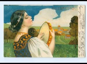 Y7659/ Allegretto - schöne Jugendstil Litho AK Frau mit Tamburin 1907