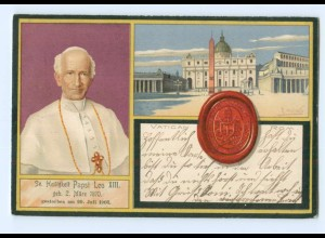 U845/ Vatikan Papst Leo XIII. schöne Litho AK 1903