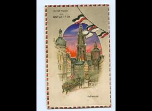 U1377/ Eroberung von Antwerpen Halt gegen Licht Litho AK 1. Weltkrieg 1915