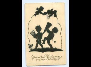 Y7742/ Einschulung Kinder mit Schultüte Schattenbild AK 1937