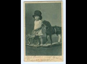 Y8812/ Kind mit Zylinder + Holzpferd Spielzeug AK 1905