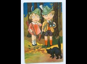 U1184/ Kinder als Jäger Jagd Fernglas Katze Litho AK 1932