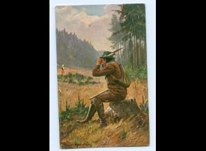 U1183/ Jagd Jäger mit Fernglas AK 1905