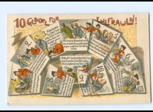 Y7708/ 10 Gebote für Ehefrauen Humor Litho AK ca.1900