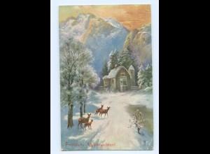 Y8054/ Weihnachten Rehe AK 1907
