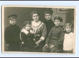 Y8128/ Mutter und Kinder in Uniform 1. Weltkrieg Privat Foto AK 1914