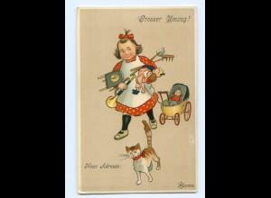 Y8143/ Großer Umzug ! Mädchen mit Puppen Puppenwagen Katze Litho AK ca.1910