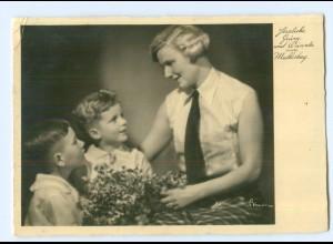 """Y8961/ Muttertag Mutter und Kinder Foto Binder """"Meisteraufnahmen"""" Foto AK 1935"""