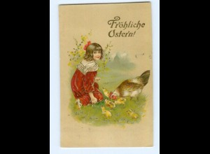 Y8569/ Ostern Mädchen mit Huhn und Küken 1909 Litho Prägedruck AK