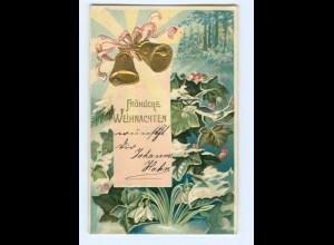 Y8468/ Weihnachten Glocken schöne Litho Präge AK 1910