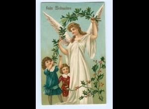 U1477/ Weihnachten Engel + Kinder tolle Litho Prägedruck AK 1908