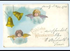 Y8434/ Weihnachten Engel Litho Glimmer AK 1900