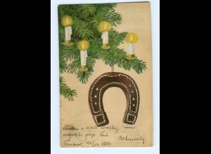 Y8697/ Weihnachten Hufeisen 1904 Litho Prägedruck AK