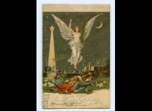 U1606/ Halt gegen Licht Engel Bethlehem Palästina Litho AK 1900