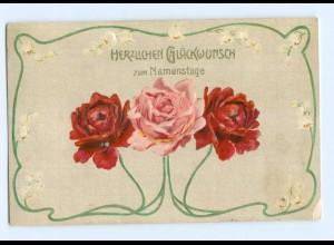Y8489/ Namenstag Rosen schöne Jugendstil Litho Präge AK 1907
