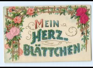Y8490/ Mein Herz Blättchen Prägedruck, Rosen aus Seide, AK ca.1905