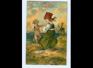 Y8568/ Fröhliche Ostern Mädchen mit Lamm 1910 Litho Prägedruck AK