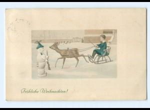 Y8456/ Weihnachten Schneemann als Soldat, Reh AK 1912