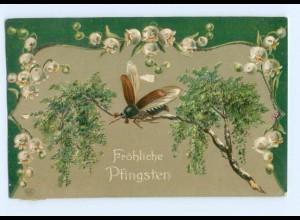 Y8677/ Fröhliche Pfingsten Maikäfer 1909 Litho Prägedruck AK