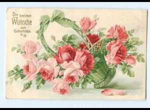 Y8682/ Geburtstag Blumen Rosen 1907 Litho Prägedruck AK
