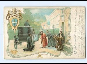 Y8864/ Papst steigt in die Kutache Litho AK Vatikan 1903