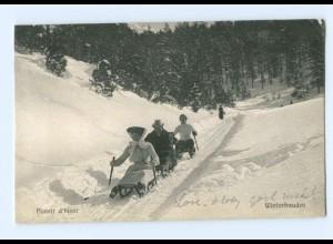 Y8838/ Plaisir d`hiver - Winterfreuden Rodeln Schlitten Schweiz AK 1905
