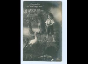 Y8830/ KInd und Storch schöne Foto AK 1917
