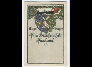 U1955/ Studentika Augsburg Freie Burschenschaft Frankonia Litho Wappen AK