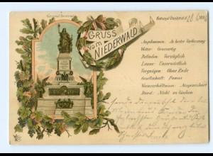 Y9008/ Gruß vom Niederwald Denkmal Litho AK 1896 bei Rüdesheim