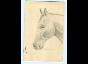 U2018/ Pferd Pferdekopf handgemalte AK 1912