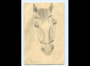 U2020/ Pferd Pferdekopf handgemalte AK 1913