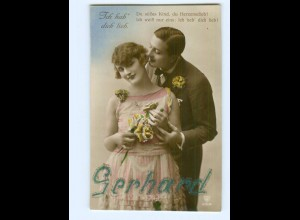 "U2026/ Namen ""Gerhard"" Liebespaar Foto AK 1927"