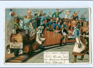 Y9044/ Eisenbahn Richtung Heimat - Soldaten trinken Bier Litho AK ca.1905