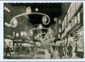 Y9009/ Essen Weihnachtsbeleuchtung Limbecker Straße AK ca.1960