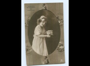 Y9071/ Namenstag Mädchen mit Blumen Foto AK ca.1910